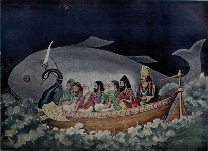 The_fish_avatara_of_Vishnu_saves_Manu_during_the_great_deluge
